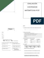 Evaluación Tema 1 matematicas 4º