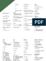 Physics 4 Formulas