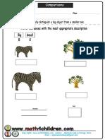 Big Small Comparison Sheet