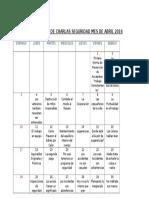 Cronograma de Charlas Seguridad Mes de Abril 2016