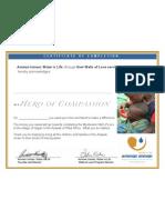 Hero of Compassion Certificate 2010