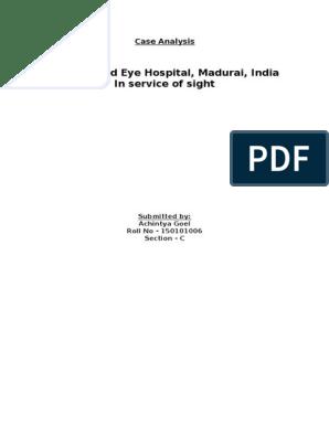 Case Analysis-Aravind Eye Hospital | Ophthalmology | Vision