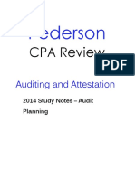 Pederson CPA Review AUD Study Notes Audit Planning