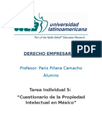 Cuestionario de La Propiedad Intelectual en Mexico