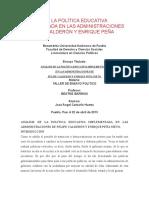 Análisis de La Política Educativa Implementada en Las Administraciones de Felipe Calderón y Enrique Peña Nieto