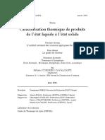 Caracterisation Thermique de Produits de l'Etat Liquide a l'Etat Solide