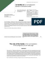 El papel de la familia en la normalización del embarazo a temprana edad