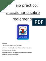 Cuestionario 2016 Reglamento Handball