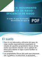 Movimiento del agua de riego - Eficiencia de riego