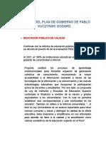 Resumen Del Plan de Gobierno de Pablo Kuczynski Godard