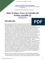 Sobre el origen, el uso y el contenido del término sostenible