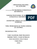 Monografia - Teoria General de Sistemas