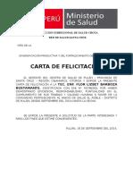 Carta de Felicitacion Centro de Salud