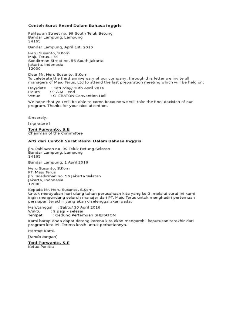 Contoh Surat Resmi Formal Dalam Bahasa Inggris Simak