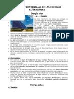 Ventajas y Desventajas de Las Energías Alternativas