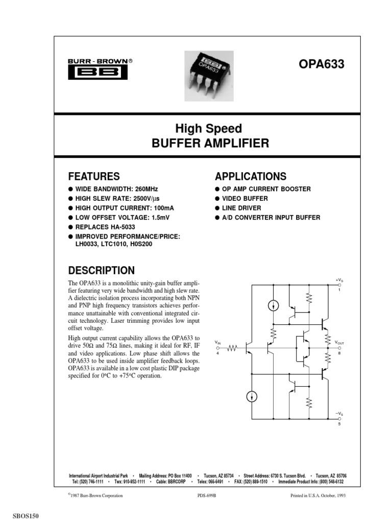 Buffer Amplifier Capacitor Wide Bandwidth Jfet Op Amps