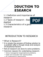Week 1 Introduction to Research