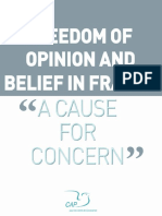 freedom of opinion and belief in France – A cause for concern