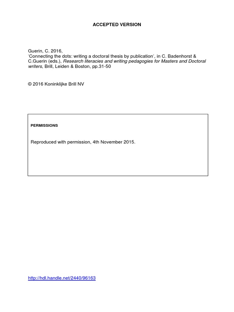 Phd by publication thesis