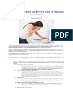 Presumptive, Probable and Positive Signs of Pregnancy