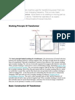 Working Principle Of Transformer: definition of transformer