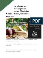 Listado de Alimentos Catalogados Según Su Naturaleza en Medicina China
