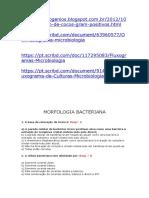 MICROBIOLOGIA BACTERIANA - EXERCICIO