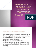 An Overview of Provisions of Business & Profession