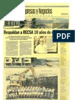 Respaldan a RECSA 10 años de experiencia