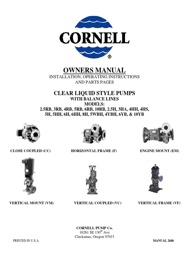 Clear Liquid Pump Manual | Screw | Bearing (Mechanical)