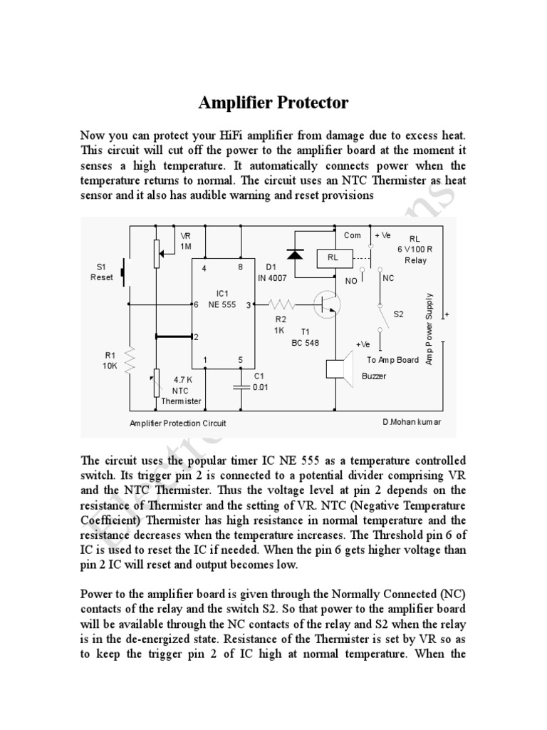 Amplifier Protection Circuitdoc 555 On And Off Relay
