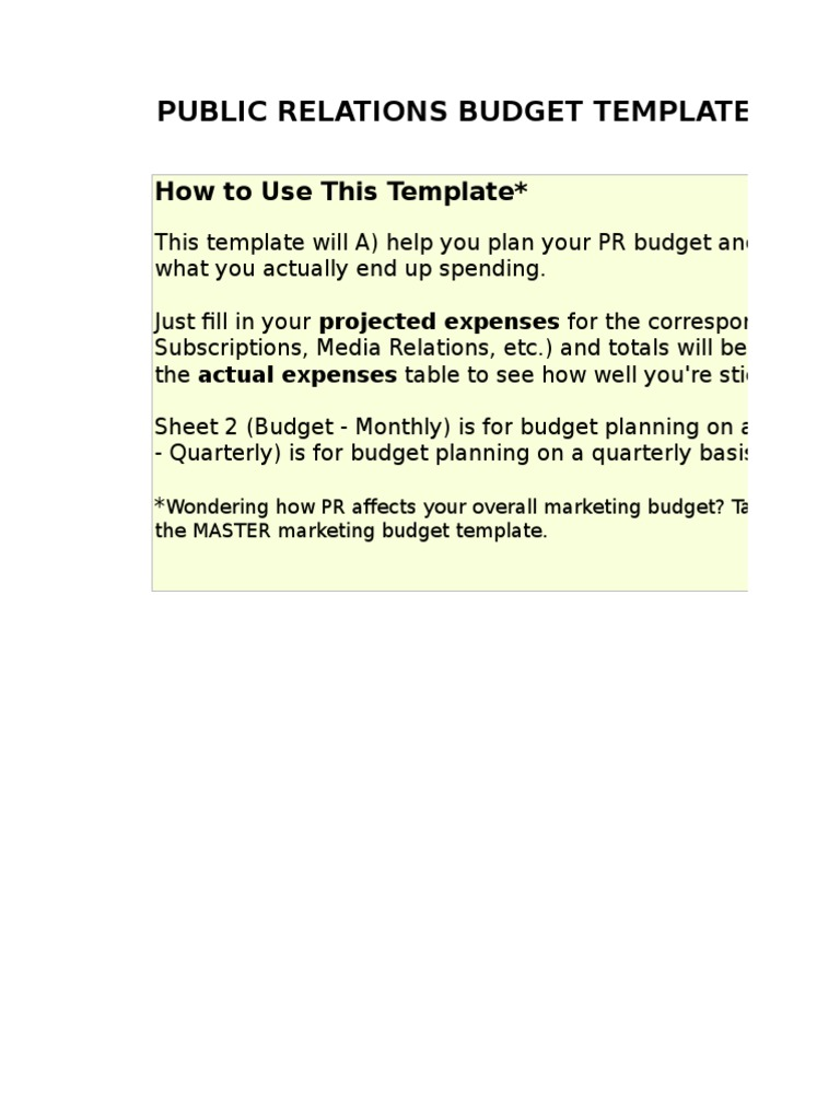 5) Public Relations Budget Template.xls | Public Opinion | Marketing