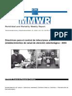 directrices para control infecciones en establecimientos de salud odontologica 2003