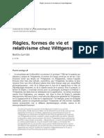Règles, Formes de Vie Et Relativisme Chez Wittgenstein