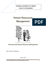 Personal and Human Resource Management