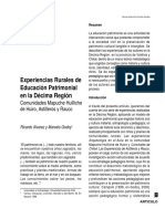 Experiencias Rurales de Educación Patrimonial en la Décima Región Comunidades Mapuche Huilliche de Huiro, Astilleros y Rauco