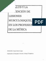 LA Salud y La Prevencion de Lesiones Musculo Esqueletica en Los Profesionales de La Musica..