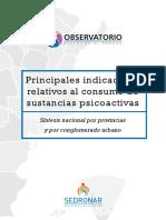 Principales indicadores relativos al consumo de sustancias psicoactivas 2014