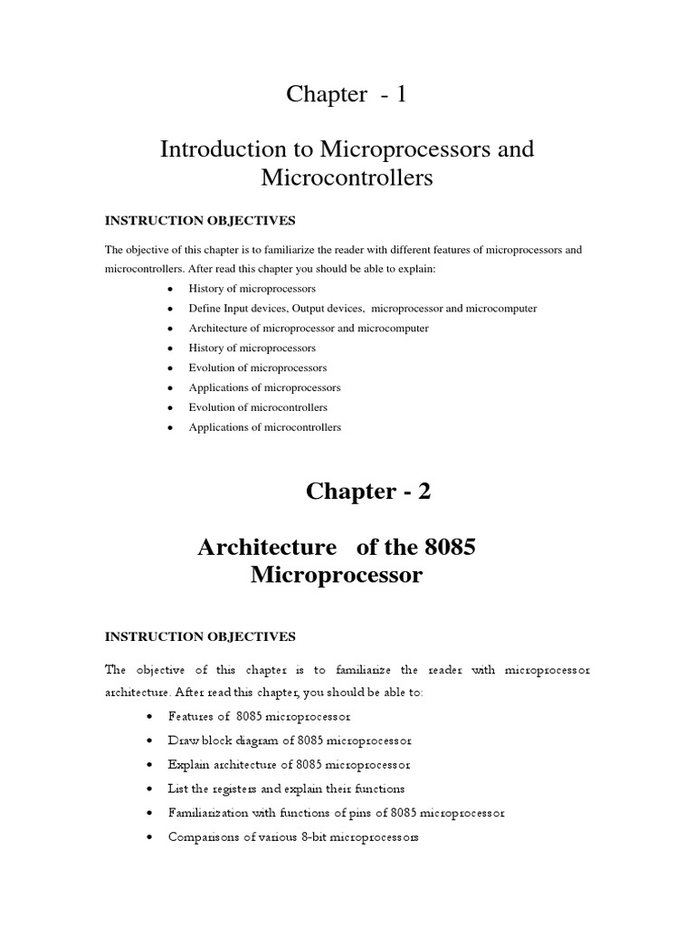 Instruction Objectives Of Each Chapter Set Central Circuit Diagram 8086 Microprocessor Processing Unit