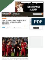 Las 15 Principales Figuras de La Vinotinto Renuncian a La Selección