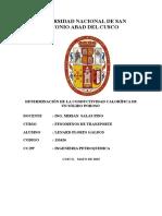DETERMINACIÓN DE LA CONDUCTIVIDAD CALORÍFICA EN SOLIDOS POROSOS