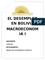 El Desempleo en Bolivia