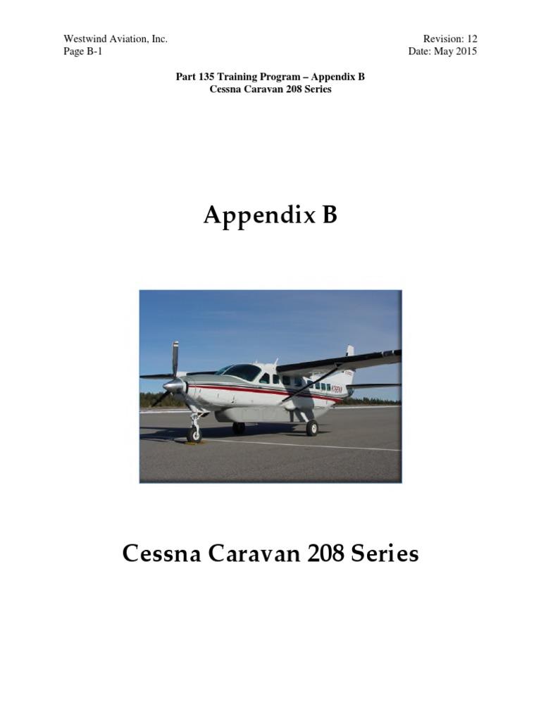 Training Manual Appendix B. Caravan 208 Series Rev 121 | Takeoff |  Instrument Flight Rules