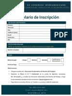 Formulario de Inscripción - XX Congreso - Guatemala