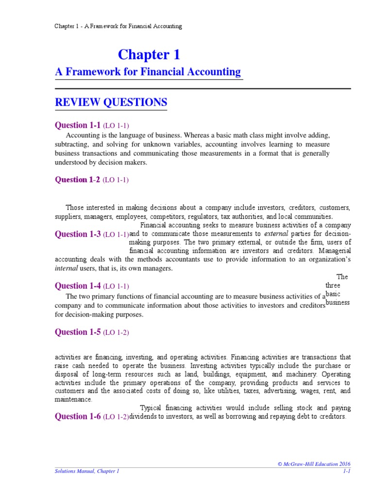 Chapter 1 Solutions | Financial Accounting Standards Board | Financial  Accounting