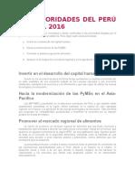 Las Prioridades Del Perú Para El 2016