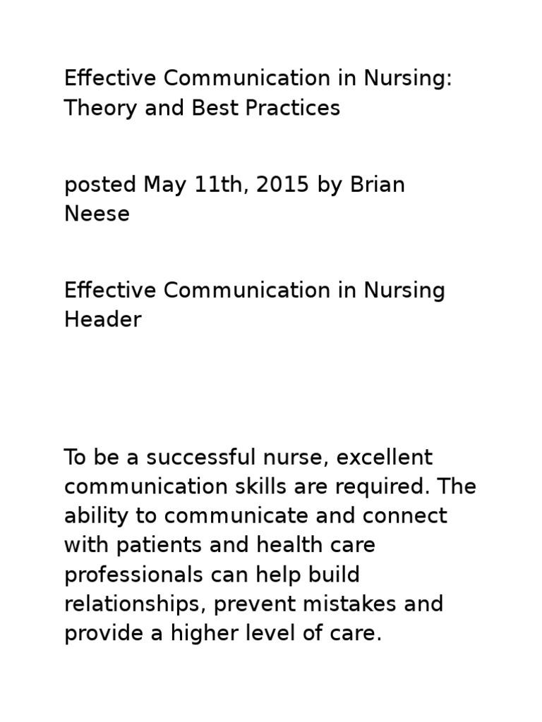 Effective Communication in Nursing | Medical Error | Nursing