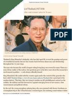 King Bhumibol Adulyadej of Thailand, 1927-2016