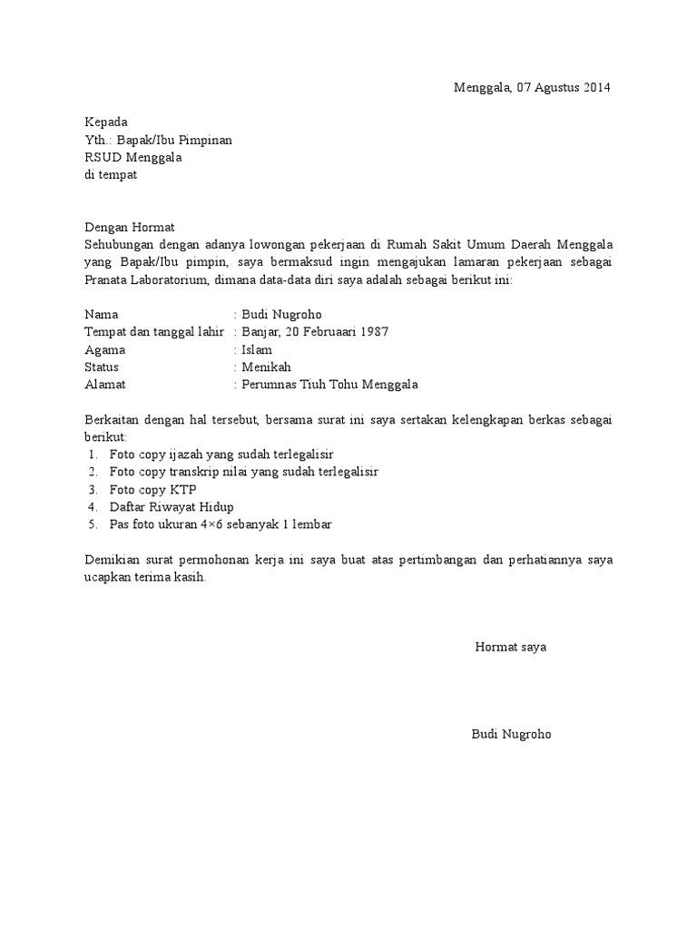 Contoh Cv Untuk Melamar Kerja Di Rumah Sakit Best Resume Examples
