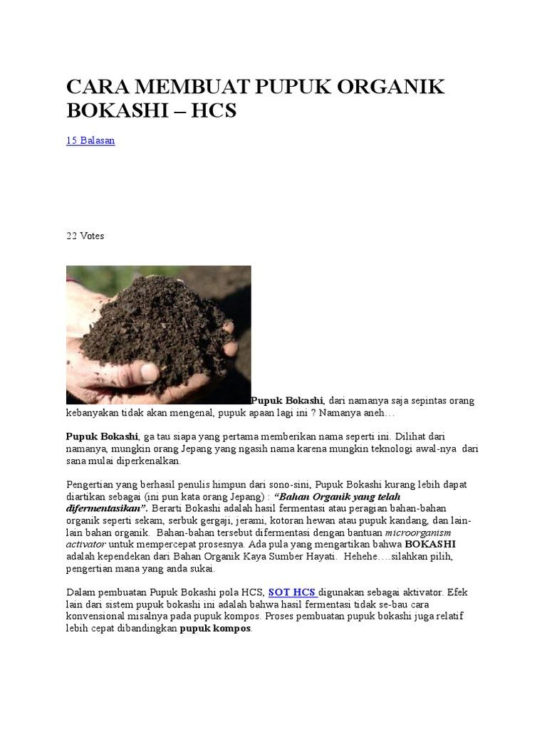 Cara Membuat Pupuk Organik Bokashi Kompos